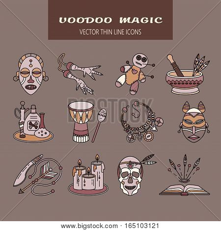 Voodoo African and American magic vector logo. Color line icons of voodoo doll, skull, chicken foot, necklace, poison, candles, drums, book a machete.