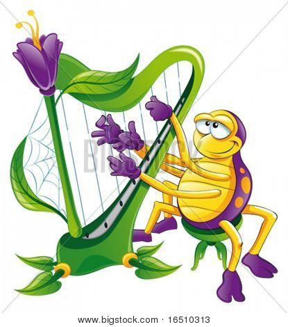 Spinne mit Harfe. Lustige Cartoons und Vektor Charakter, isoliertes Objekt