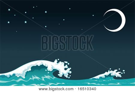 Wave in the night. Vector illustration, isolated objects