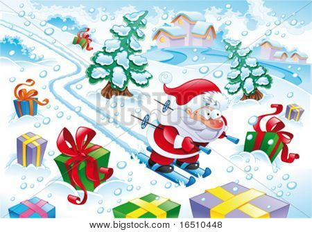 Santa Claus in the snow. Funny cartoon and vector illustration