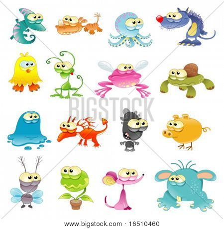 Family of monsters. Funny cartoon and vector characters