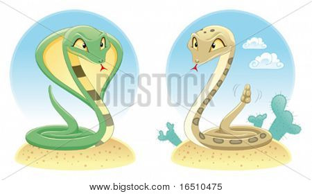 Two Snakes: Cobra and Pit Viper with background. Cartoon and vector reptiles