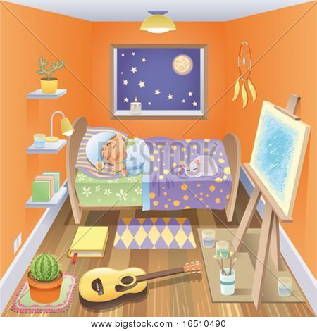 Boy is sleeping in his bedroom. Funny cartoon and vector scene, isolated objects