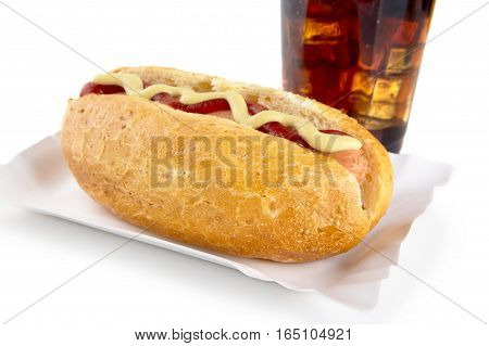 Hot-dog With Mustard And Ketchup In The Tray With Cola On White
