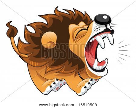 Lion Cartoon Character on Barking Lion  Funny Cartoon And Vector Character Stock Photo   Stock