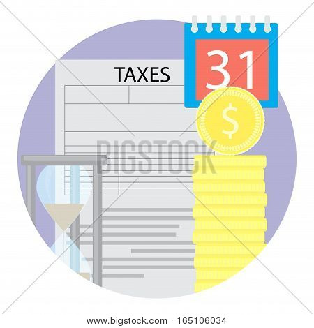 Taxation icon flat. Tax form and money coin with hourglass. Vector illustration