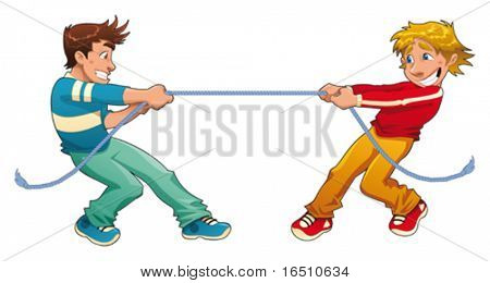Tug of war. Funny cartoon and vector young characters.