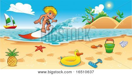 Surfing in the sea. Funny cartoon and vector illustration.