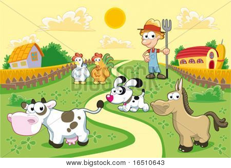 Farm Family with background. Funny cartoon and vector illustration.