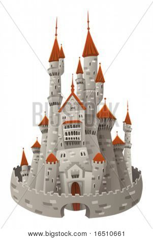 Medieval castle. Cartoon and vector object  isolated