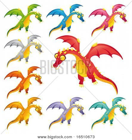 Set of colored dragons. Funny cartoon and vector characters.