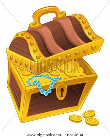 Treasure chest. Cartoon and vector isolated object.
