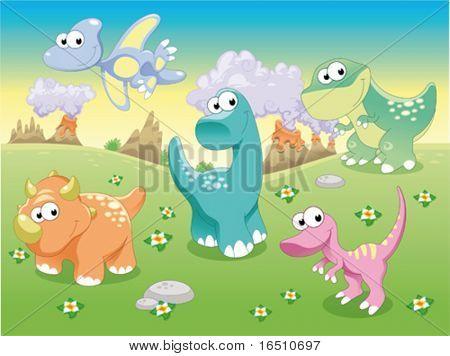 Família de dinossauros com plano de fundo. Engraçado ilustração cartoon e vetor.