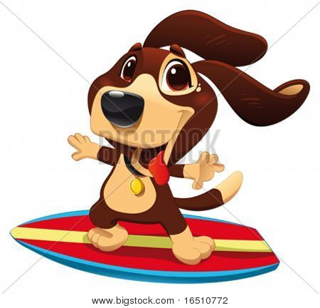 Dog with surf. Funny cartoon and vector sporty character