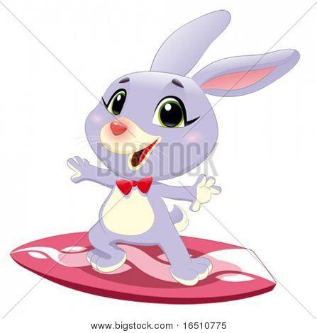 Conejo conejo con surf. Divertidos dibujos animados y vector de carácter deportivo