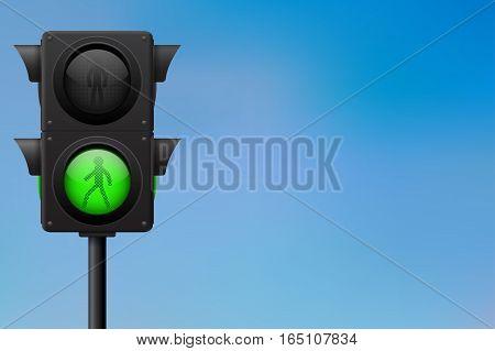 Traffic lights. Green for pedestrians. Vector illustration