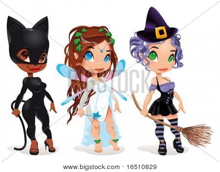 Cat, Fairy and Witch. Cartoon and vector characters. Objects isolated