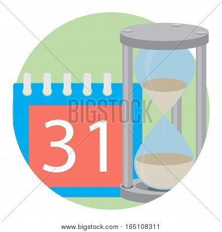 Time concept icon vector. Hourglass and calendar illustration