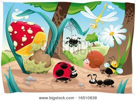 Familia de insectos en el suelo. Divertida escena de dibujos animados y vector. Objetos aislados.