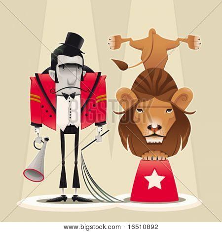 Lion Tamer con León. Divertidos dibujos animados y vector ilustración de circo.