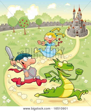 Dragon, Prince and Princess with background. Cartoon and vector scene.