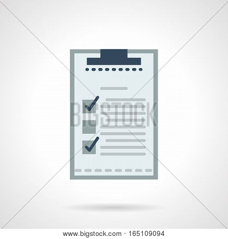 Checklist paper sheet on a clipboard. Management and planning elements. Items and accessories for office, business, sport. Flat color style vector icon.