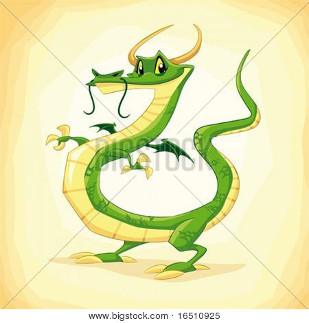 Colored dragon. Funny cartoon and vector illustration.