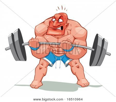 Muscle man, funny cartoon and vector character. Object isolated.