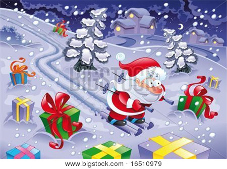Santa Claus skiing in the night. Funny cartoon and vector illustration