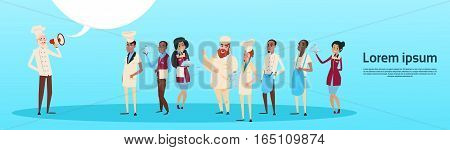 Restaurant Stuff Chef Cook Hold Megaphone Loudspeaker Colleagues Waiters Service Mix Race Group Banner Flat Vector Illustration