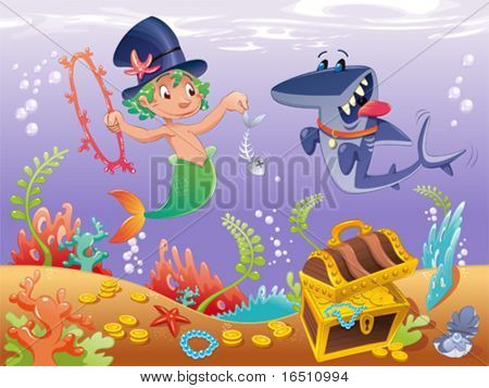 Triton with shark with background. Funny cartoon and vector characters.