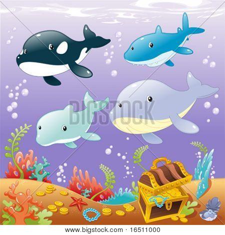 Familie Tiere im Meer. Lustige Cartoons und Vektor-illustration