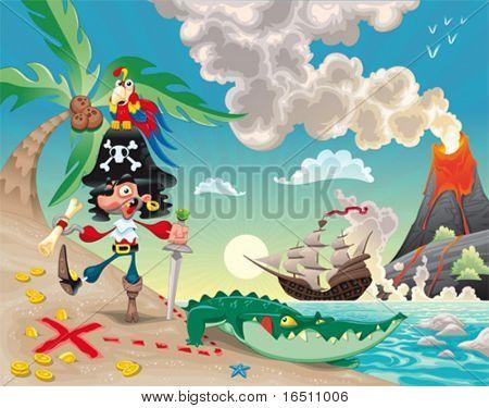 Piraten auf der Insel. Lustige Cartoons und Vektor-Szene.