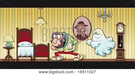 Haunted house. Funny cartoon and vector illustration