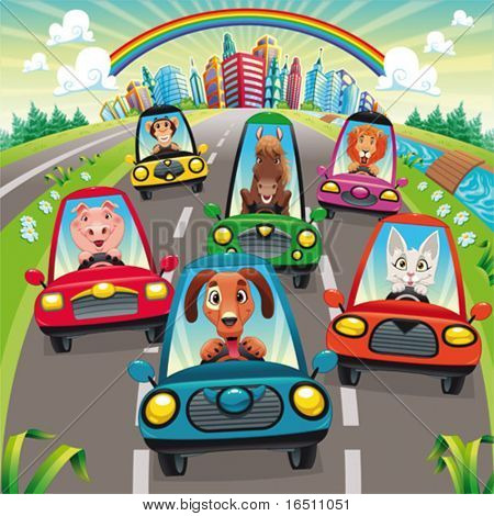 Traffic on the road. Funny cartoon and vector illustration, isolated objects.