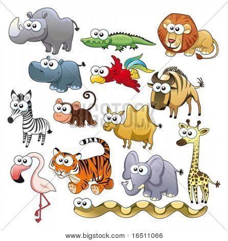 Savannah Tierfamilie. Lustige Cartoons und Vektor-Zeichen.