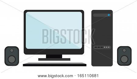 Monitor, keyboard, CPU, speakers on a white background. Flat vector isolated illustration