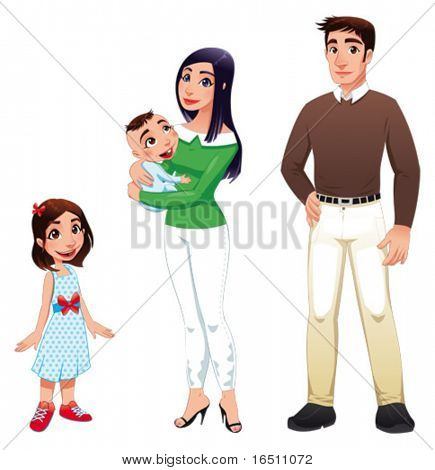Familia humana con la madre, padre e hijos. Vector ilustración de dibujos animados