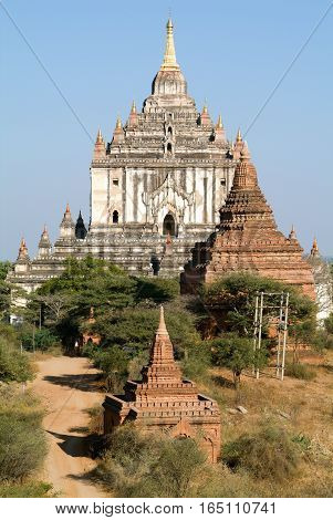 Thatbyinnyu temple at the archaeological site of Bagan on Myanmar