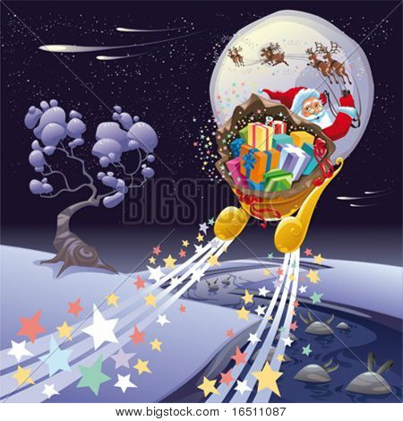 Santa Claus in the night. Cartoon and vector landscape, isolated objects.