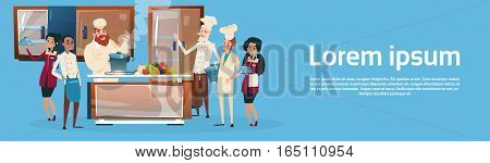 Restaurant Stuff Cook And Waiters Service Mix Race Group Kitchen Interior Flat Vector Illustration
