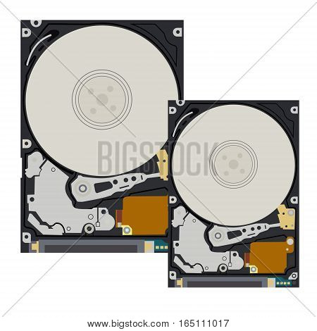 The hard disk of the computer and notebook on white background. Flat vector isolated illustration