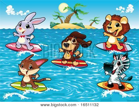 Funny animals are surfing in the sea. Cartoon and vector illustration, isolated objects.