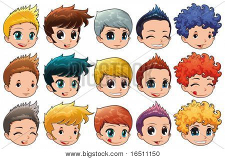 Group of faces with different expressions and hair. Cartoon and vector isolated objects.