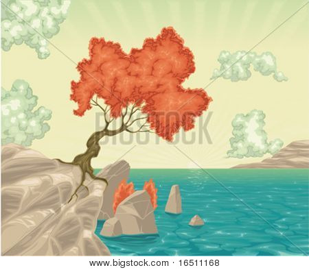 Romantic landscape. Vector colored illustration, with tree and sea. Isolated objects.