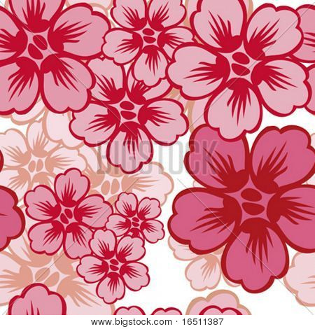Vector Flower seamless background (Raster version 18147661)
