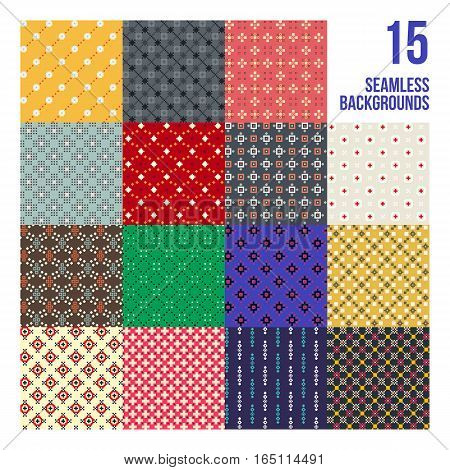Big Set Of 16 Colorful Pixelated Patterns. Childish Style. Useful For Wrapping And Textile Design.