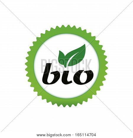 Green eco bio sign with leaves in round star. Vector icon