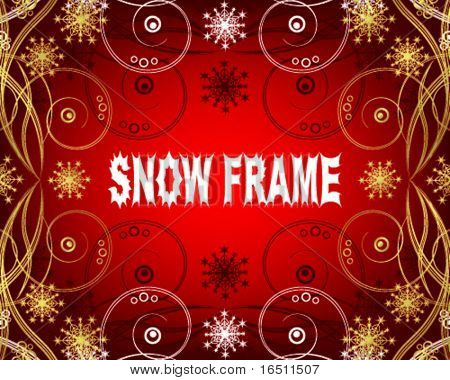 Snowflakes. Christmas and New Year's background is decorated with gold pattern on a red background VECTOR (See Jpeg Also In My Portfolio)