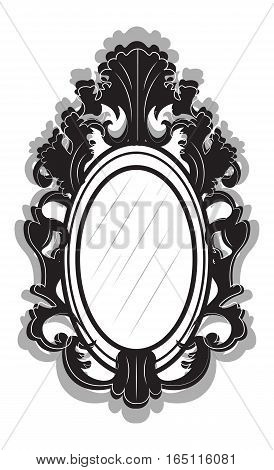 Vintage Imperial Baroque frame. Vector French Luxury rich carved ornamented decor. Victorian wealthy Style structure. Black color